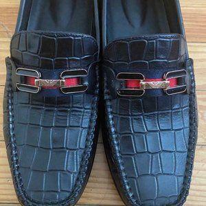 Giorgio Armani Men Black Leather Slip On Loafers D